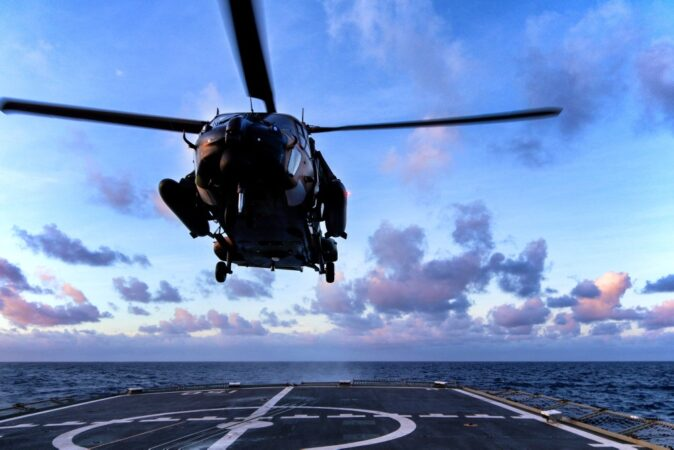 A Multi-Role Helicopter 90 (MRH90) landing on HMAS Anzac