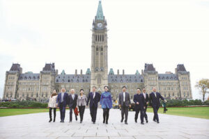 Chinese enterpreneurs at the Parliament Building during their visit to Canada in August, 2016.