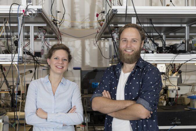 Dr Birgit Still (left) and Moritz Merklein at the University of Sydney Nanoscience Hub. Photo: Louise Connor