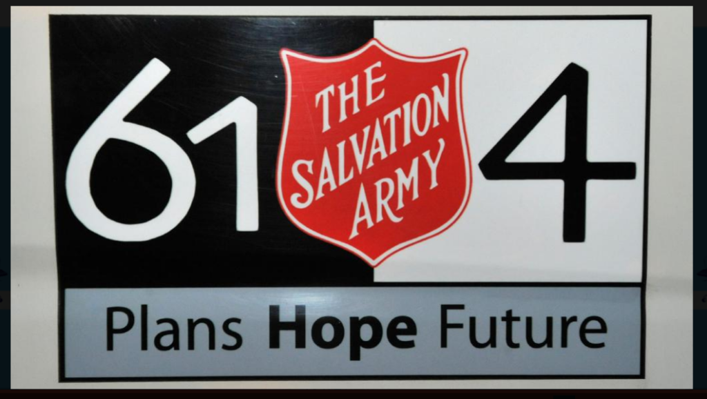 A logo on a Salvos minibus