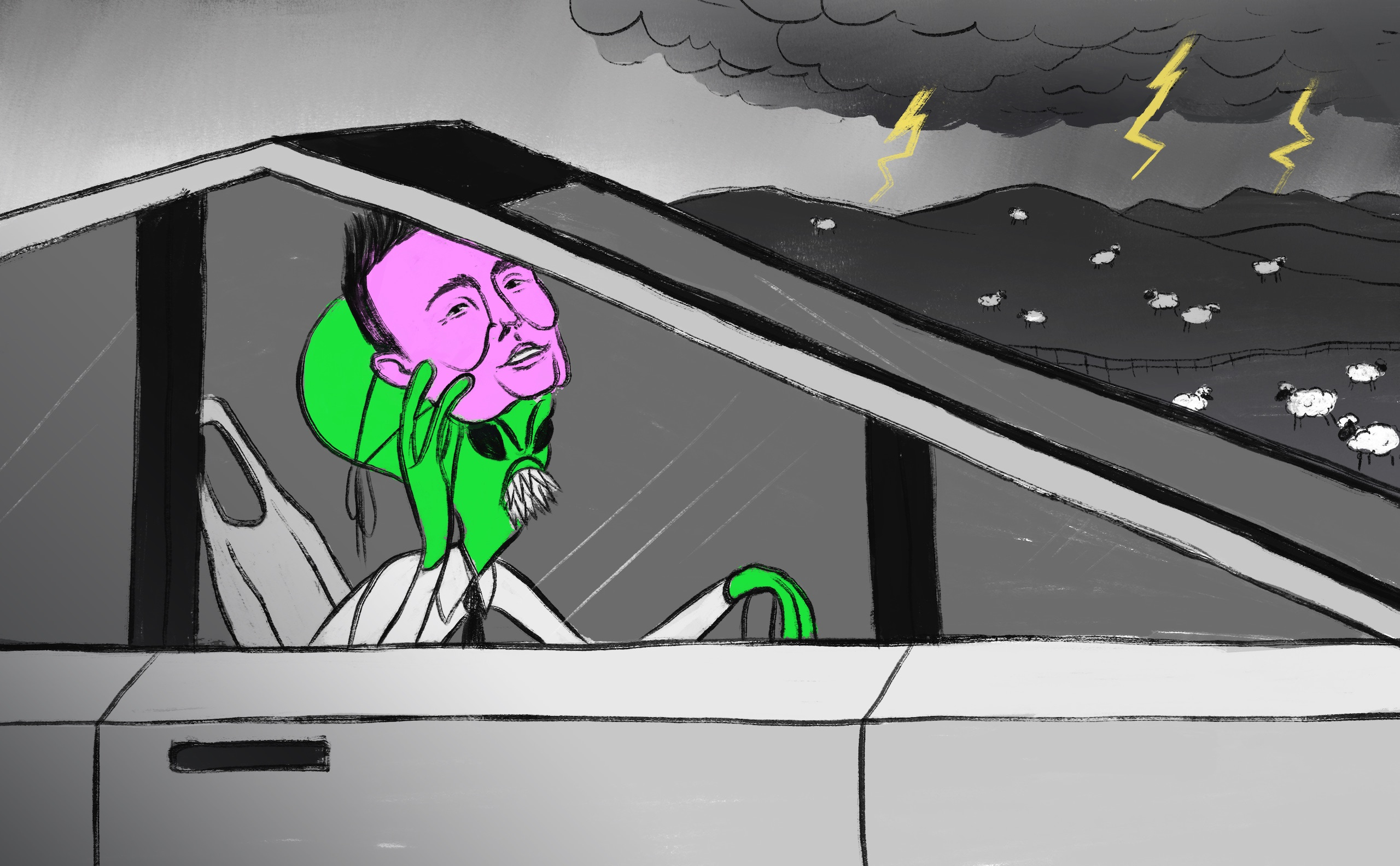 Illustration: a green alien wearing a purple Elon Musk mask is driving a Tesla cybertruck, in the background are sheep and a thunderstorm.