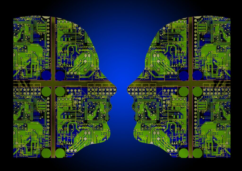 Image displaying two faces depicting artificial intelligence. Image is from Flickr Artificial intelligence (image: Flickr Artificial intelligence (image: Flickr https://www.flickr.com/photos/alansimpsonme/34715802120))
