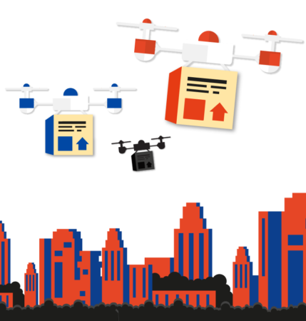 Image of buildings and flying drones