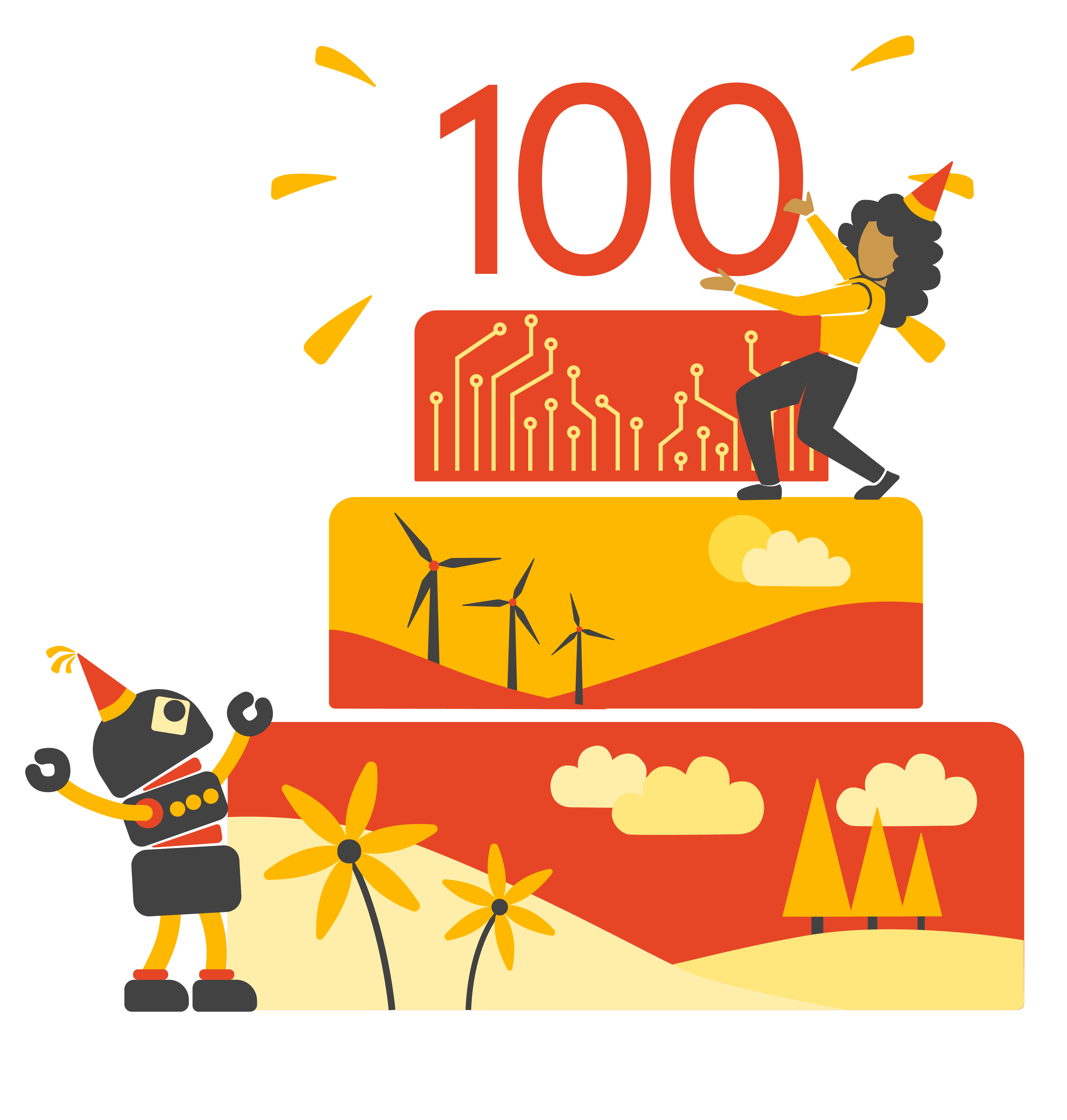 Image of a birthday with 100 at top to signify the 100 podcasts Sydney Business Insights has produced