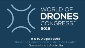 Blue and white banner advertising the World of Drones Congress 2018