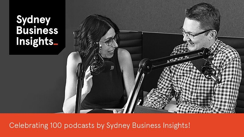 Image showing Sandra Peter and Kai Riemer on their The Future This Week podcast - celebrating 100 podcasts by Sydney Business Insights