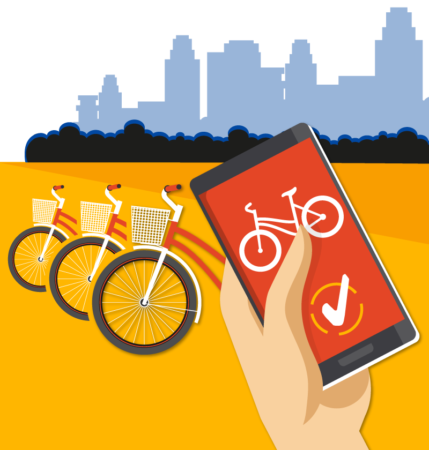 Image of bicycles and a phone depicting bike-sharing apps