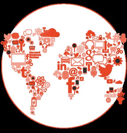 Illustration of a world map using technology company logos