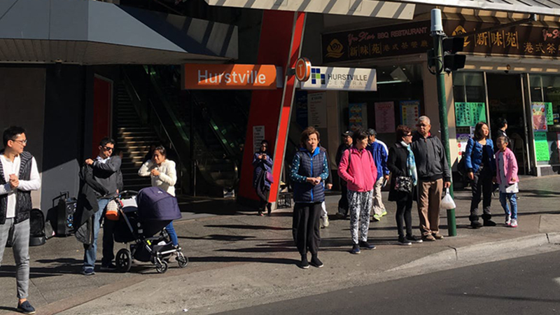 People standing at Hurstville station. Philip Terry Graham/Flickr
