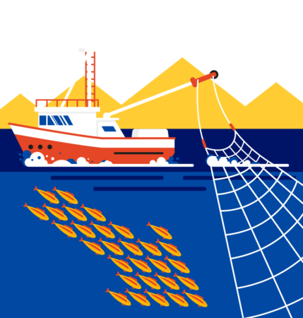 Graphic of boat and fish