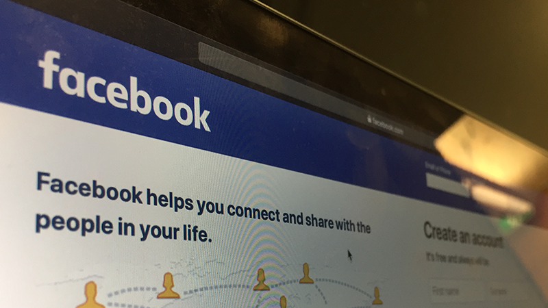 Photo of a computer screen showing the Facebook login page