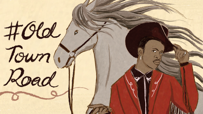 Illustration of Lil Nas X in a cowboy outfit with a horse