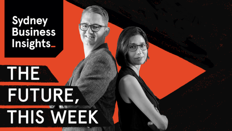 The Future, This Week | Sydney Business Insights. Black and white photo of two people standing back to back with a black and orange background