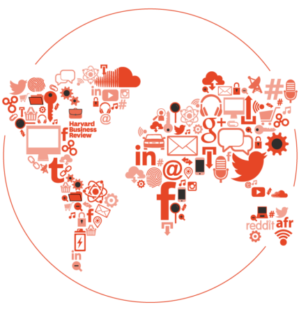 Illustration of a world map made of technology company logos and technology icons