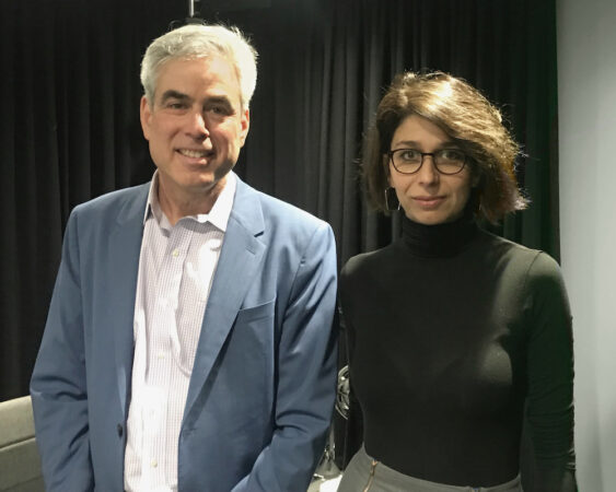 Jonathan Haidt and Sandra Peter in the podcast studio
