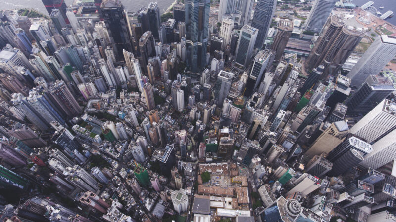 Aerial photo of a cityscape