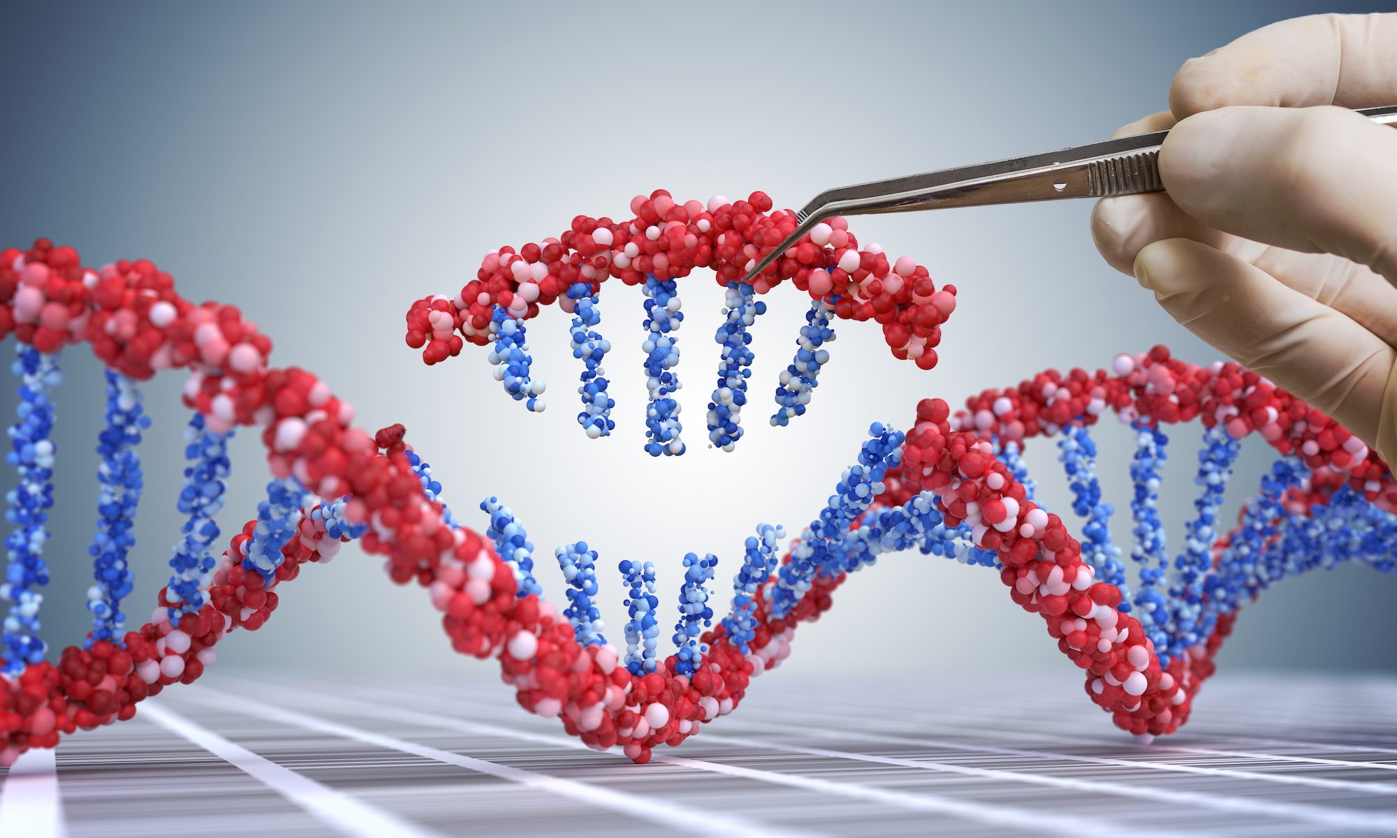 Illustration of a person using tweezers to modify a DNA string
