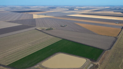 Wide landscape photo of farming land