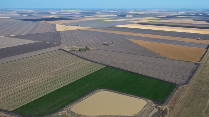Wide landscape photo of farming land