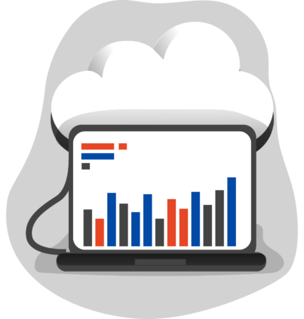 Illustration of a cloud connected to a laptop showing data visualisations