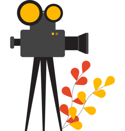Illustration of an early film camera