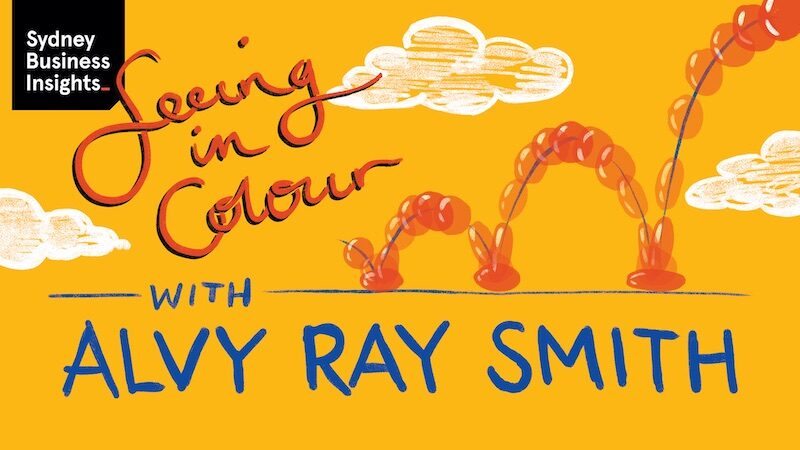 Illustration of a ball bouncing along a line with clouds above. Text: Seeing in colour with Alvy Ray Smith