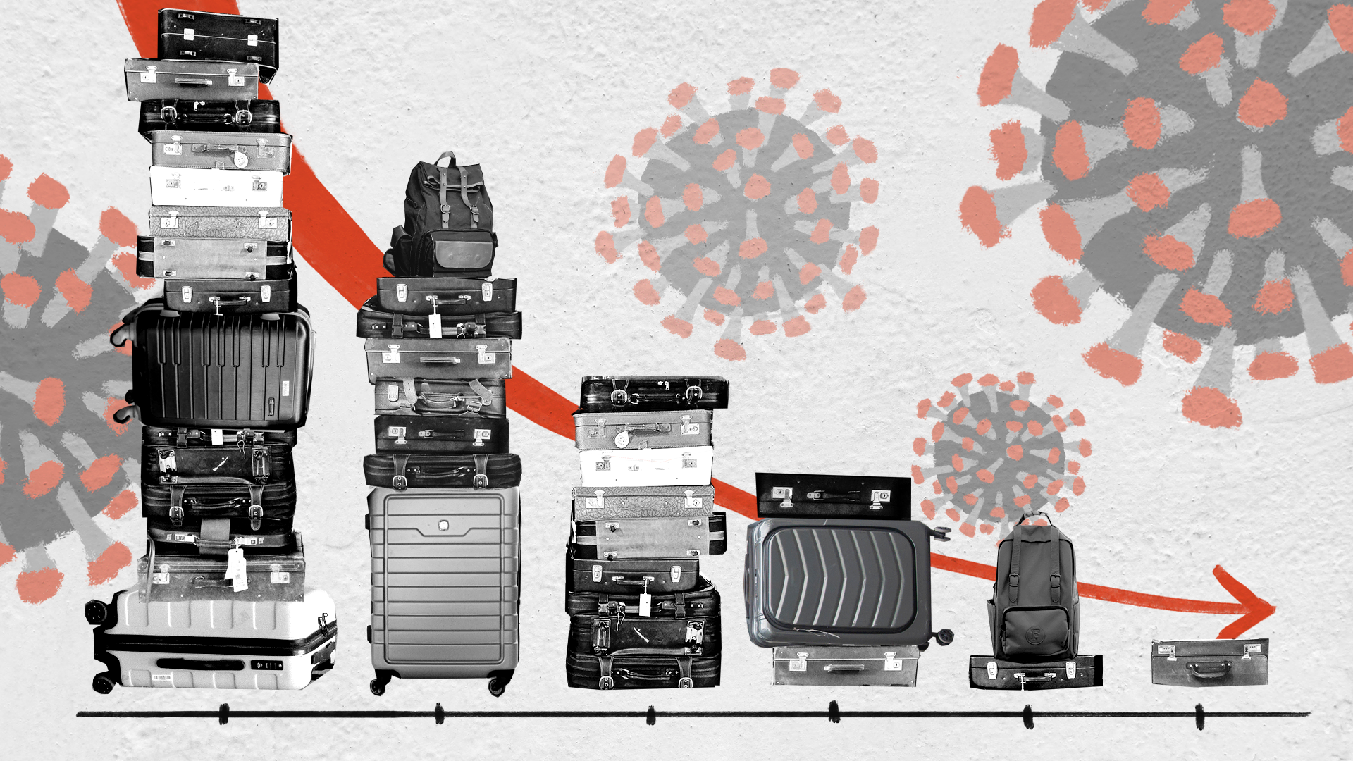 Illustration of suitcases over a graph with a downward trend