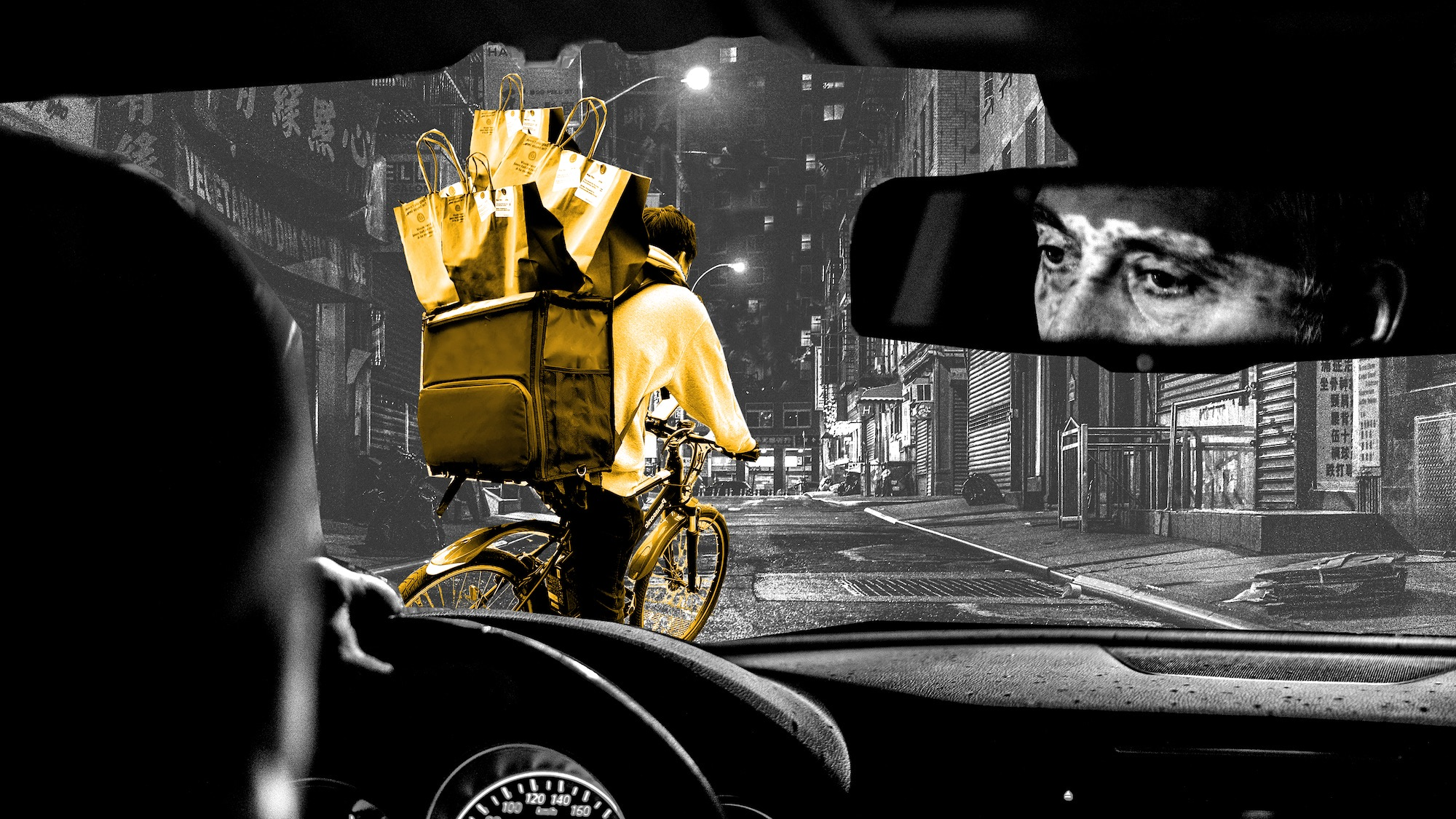 Illustration: back seat of a car looking through the windscreen. A gig worker with package deliveries is in front of the car.