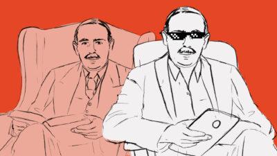Hand drawn illustration of John Maynard Keynes with sunglasses and a tablet