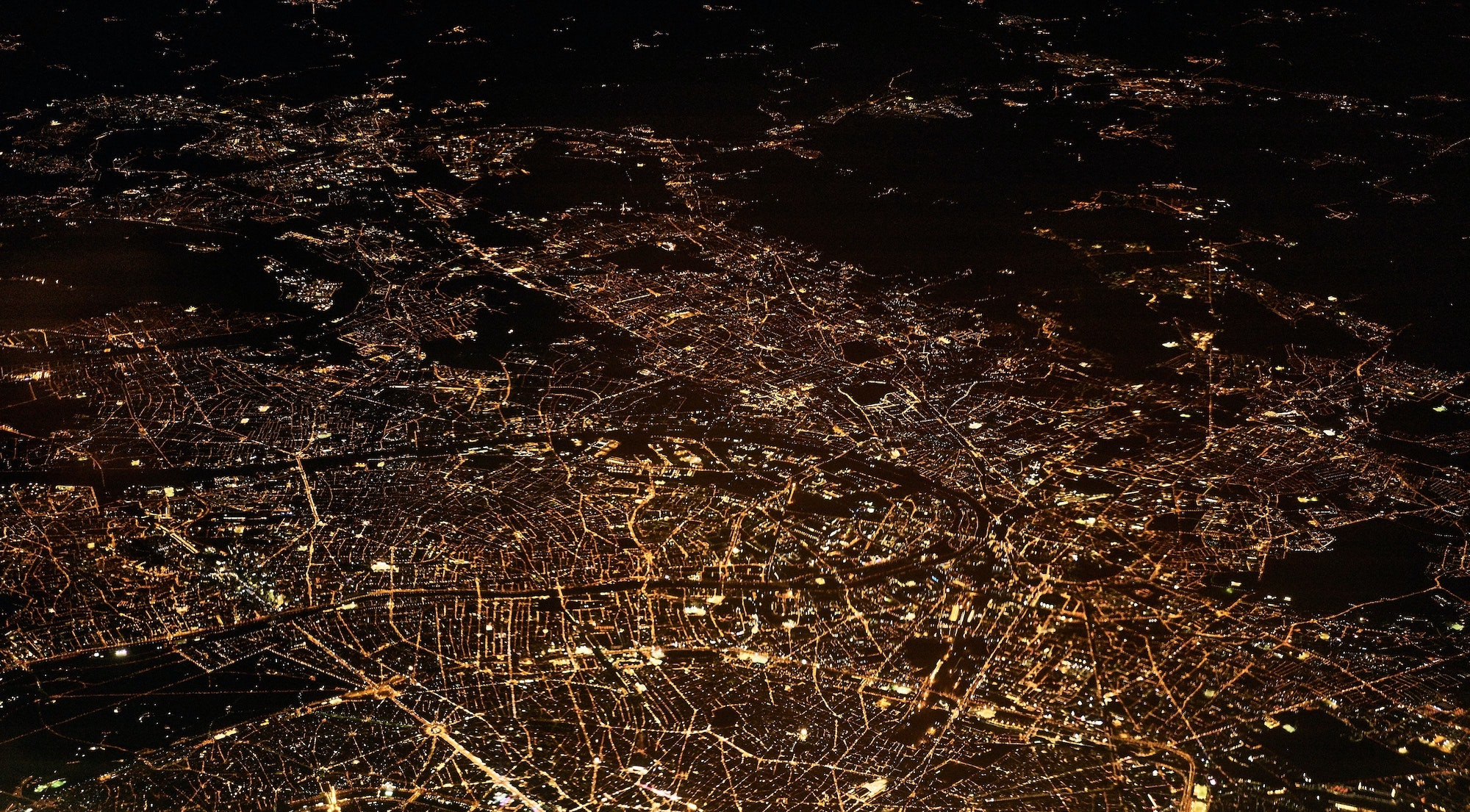 nighttime aerial photo of a city landscape
