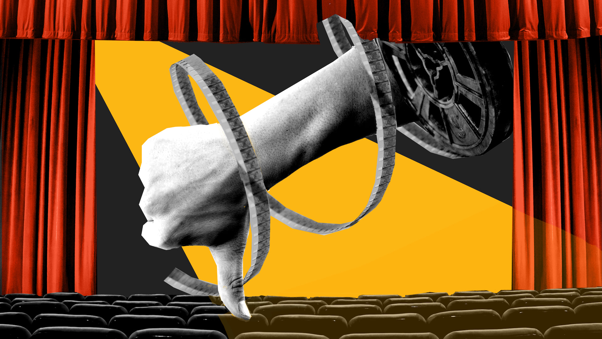 """Empty theatre with an illustrated """"thumbs down"""" hand with a cinema reel"""