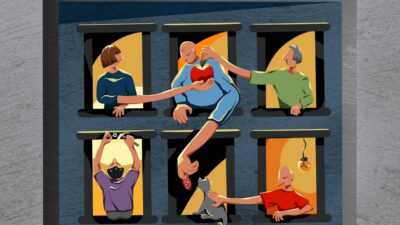 Illustration of people interacting between apartment building windows
