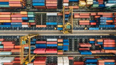 Aerial photo of shipping containers