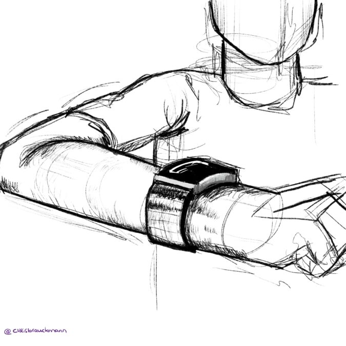 Rough sketch of a person with a smart watch.