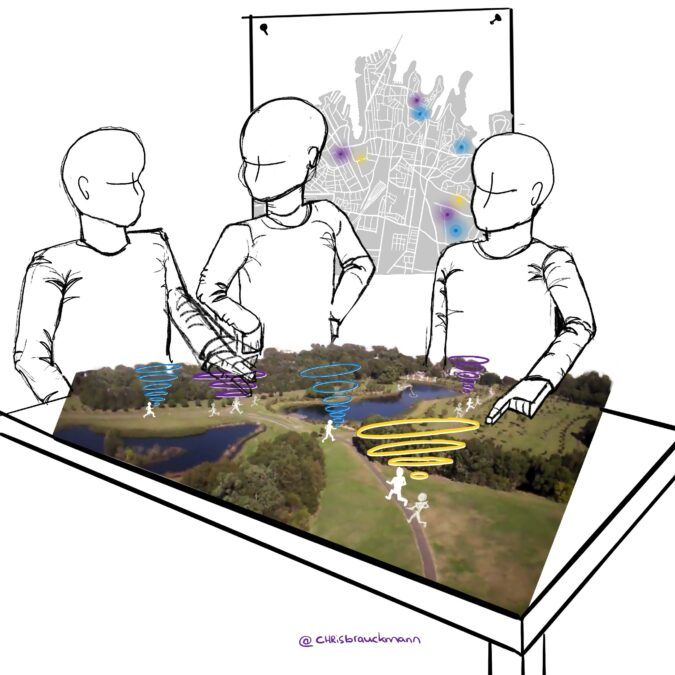 Sketch of people looking at a 3D map on a table with squiggles over people
