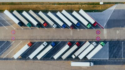 Overhead photo of parked container trucks