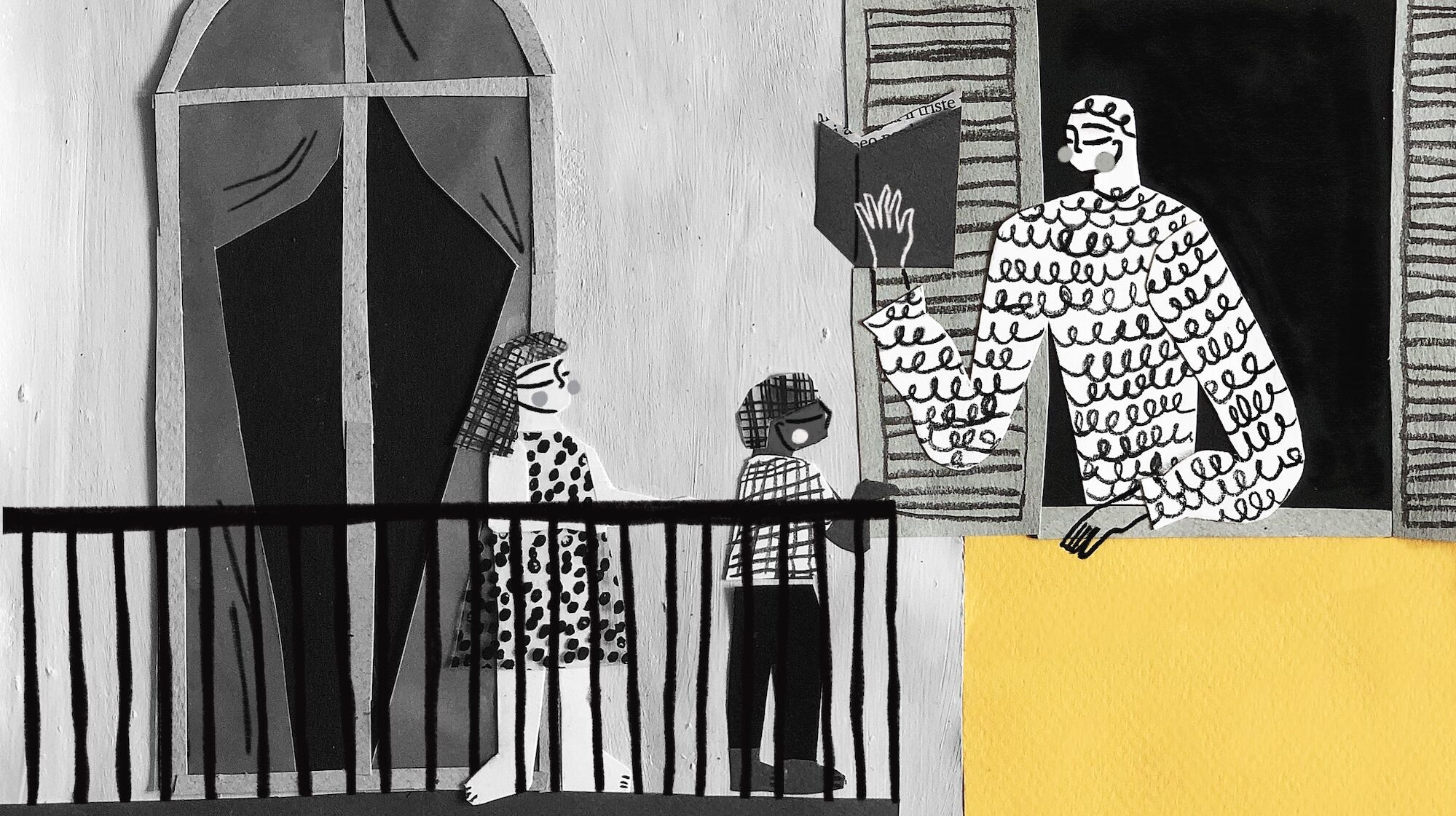 Illustration showing neighbours on balconies and at windows reading to each other