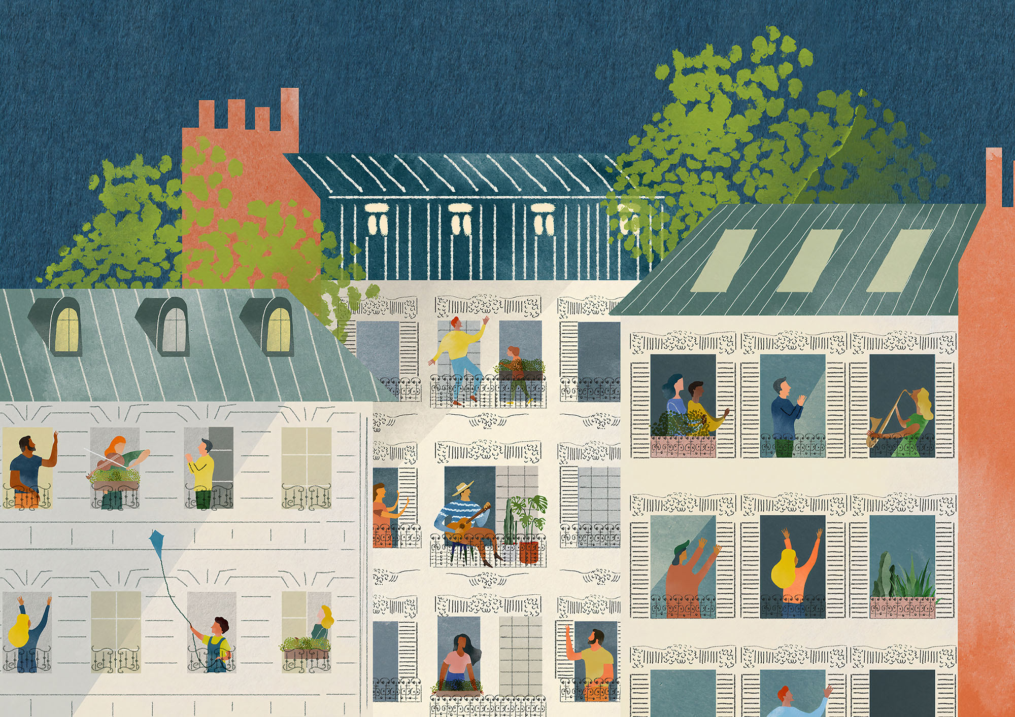 Illustration of people standing at balconies and interacting with each other through music and communication