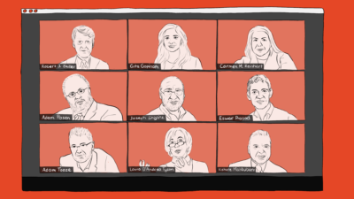 Illustration of a Zoom call with hand drawn profiles of each author