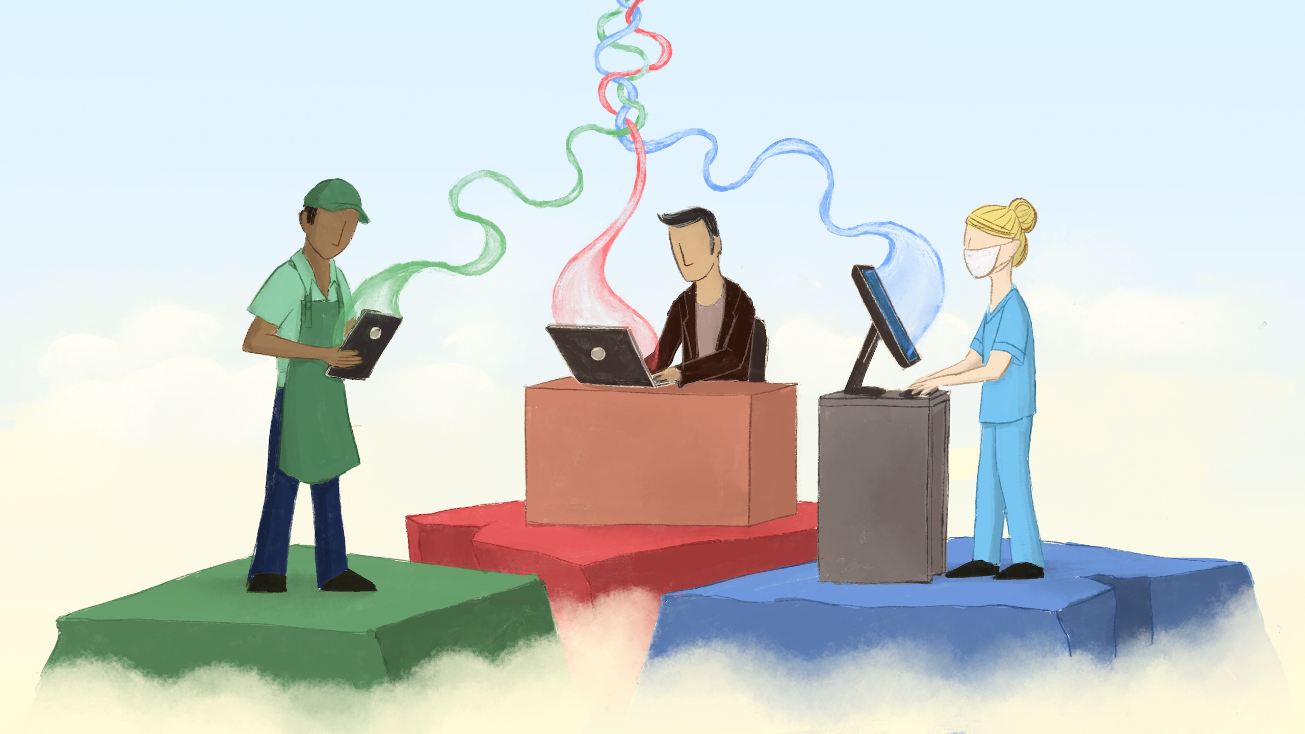 Illustration of three people on separate platforms using technology. L to R: grocery worker, office worker, healthcare worker