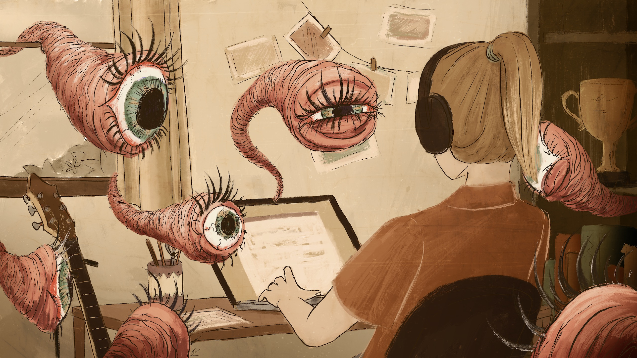 Person sitting at desk working on a laptop. Disembodied eyes are looking at them.