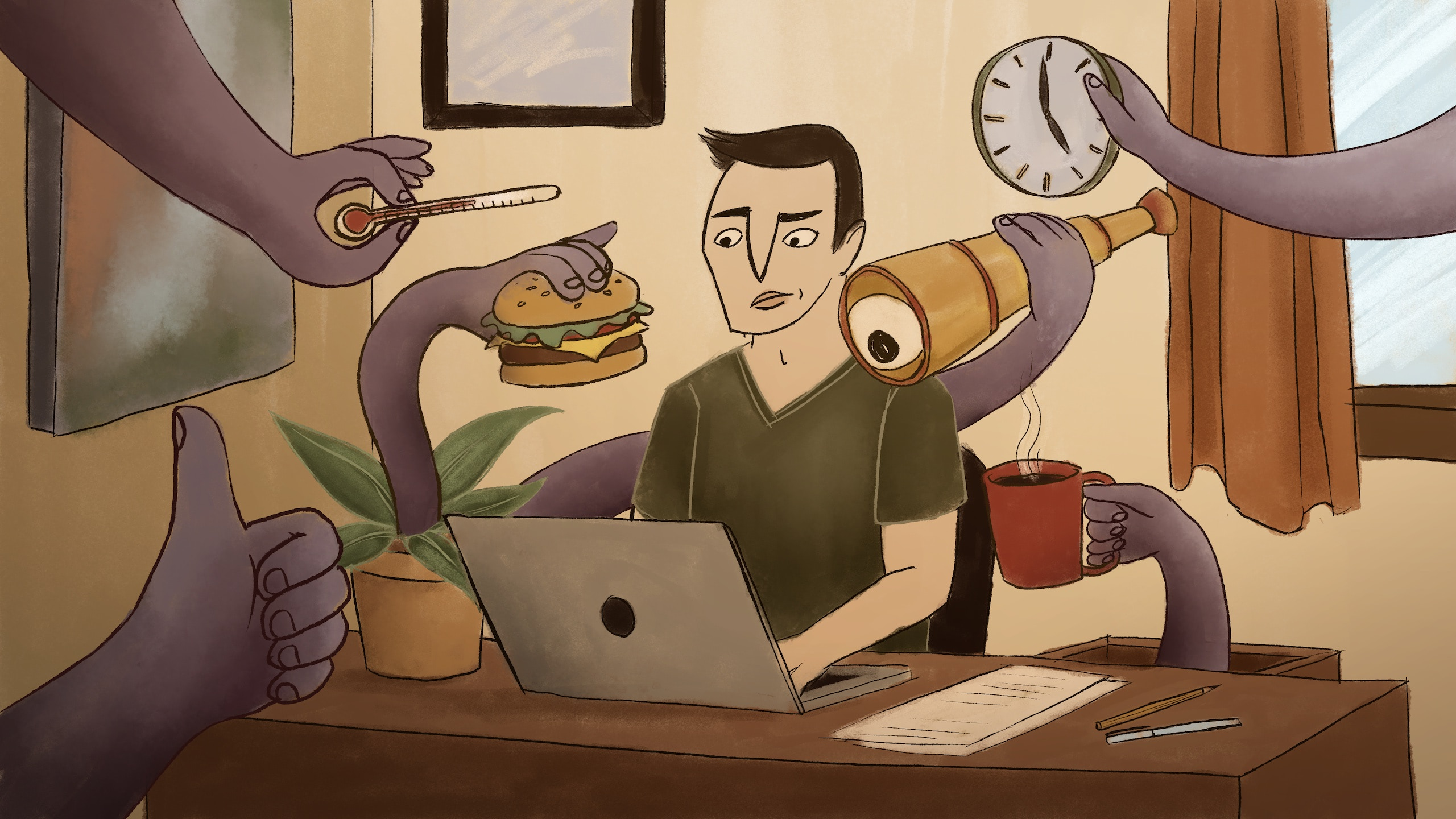 Illustration of a person sitting at a desk using a laptop. Hands are reaching from around the room holding items including a thermometer, burger, clock, spyglass.
