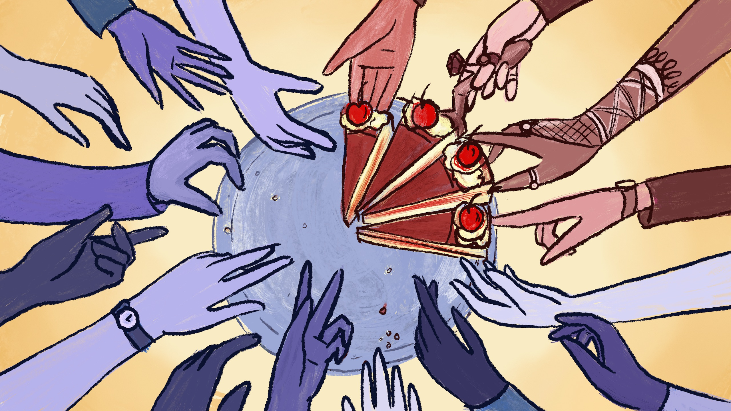 Hands reaching towards a plate, only a few can reach pieces of cake on the plate.