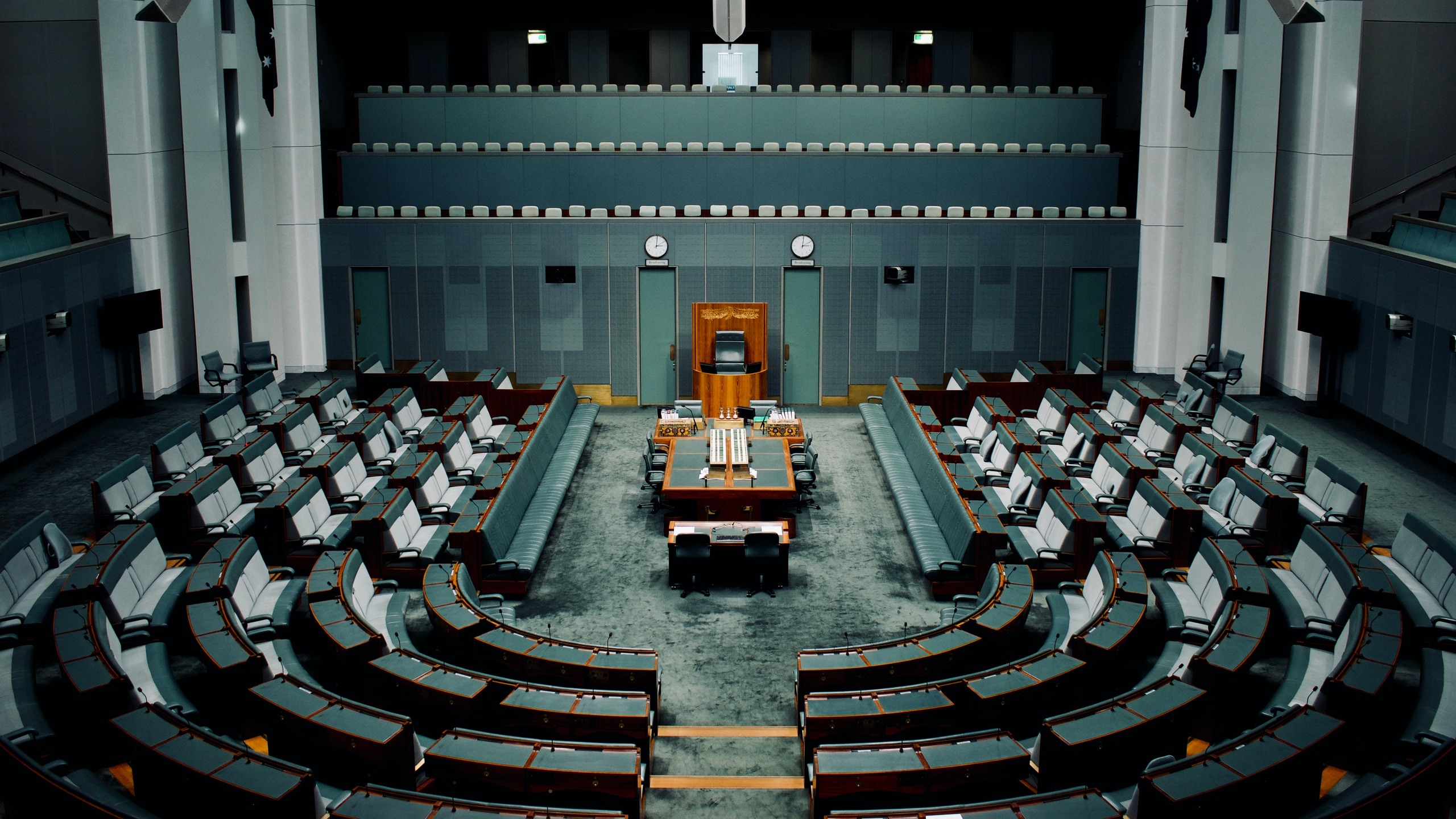 The empty House of Representatives at the Australian Parliament House