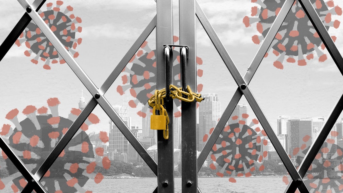 Graphic showing an illustration of a virus with a locked fence - behind the fence is a stylised photo of Sydney