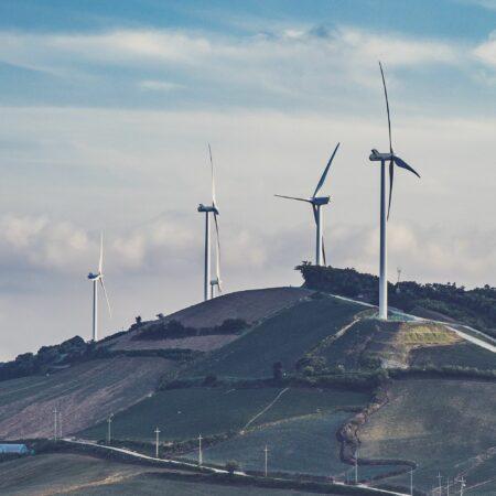 wind turbines on a hill
