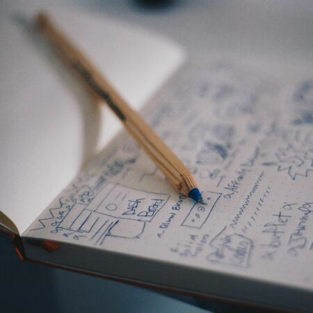 a pen and notebook covered with scribbles