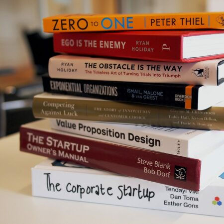 pile of books on entrepreneurship