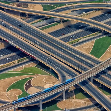 Intersecting highways and train line