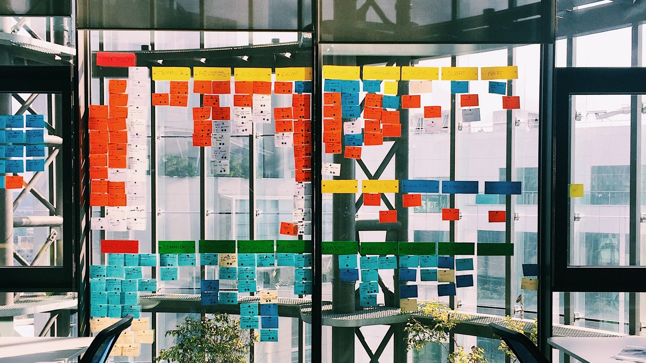 Various coloured post-it notes on an office building window